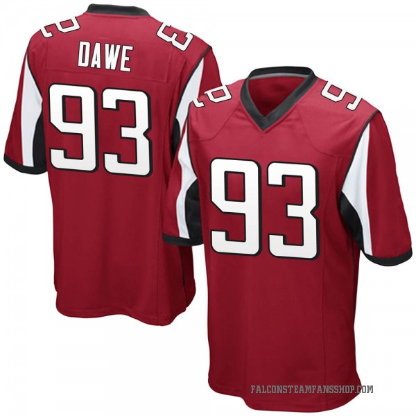 Youth Zac Dawe Atlanta Falcons Game Red Team Color Jersey